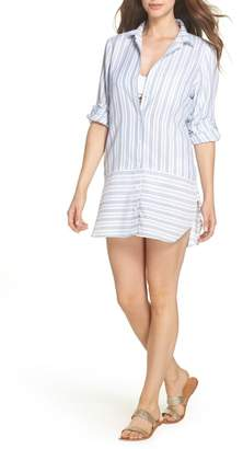 Tommy Bahama Ticking Stripe Cover-Up Shirtdress