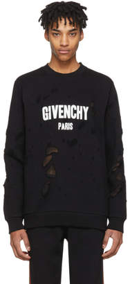 Givenchy Black Distressed Logo Sweatshirt