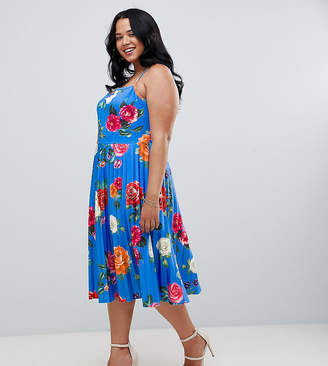 Asos DESIGN Curve scuba floral cami pleated midi skater prom dress