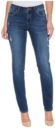 Jag Jeans Carter Girlfriend Crosshatch Denim Jeans in Thorne Blue w/ Destruction Women's Jeans