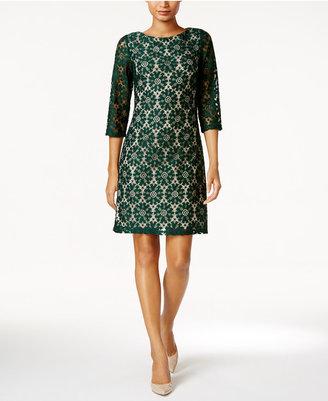 Jessica Howard Illusion-Sleeve Lace Sheath Dress $89 thestylecure.com