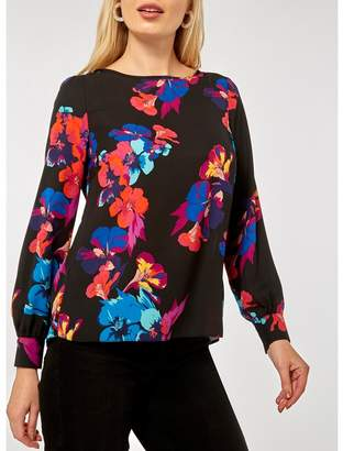 Dorothy Perkins - Black Floral Print Wrap Back Long Sleeve Top