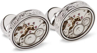 Tateossian Skeleton Industrial Enamelled Rhodium-Plated Cufflinks