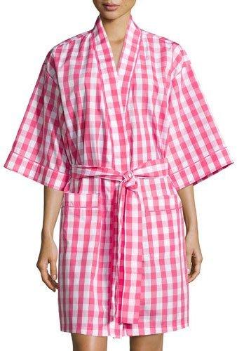 BedHeadBedhead Gingham Short Kimono Robe, Hot Pink