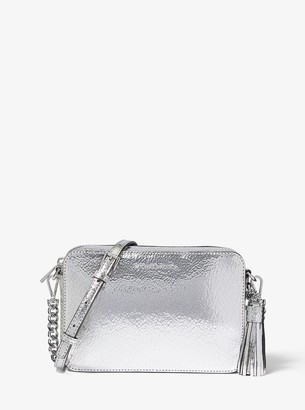 MICHAEL Michael Kors Ginny Medium Crackled Metallic Leather Crossbody Bag