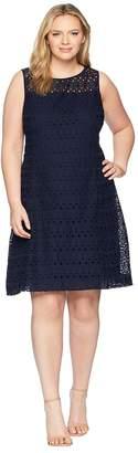 Lauren Ralph Lauren Plus Size 148H Embroidered Mondriana Sleeveless Day Dress Women's Dress