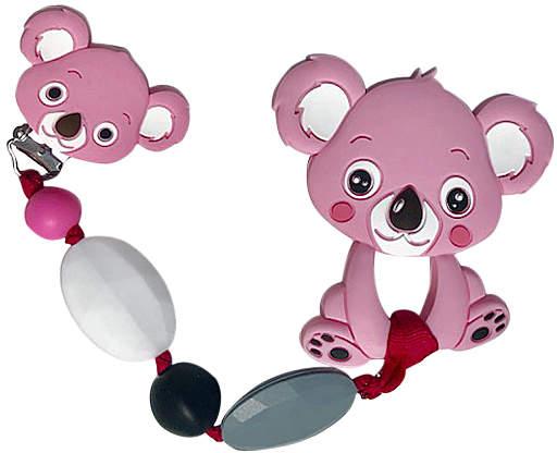 Pink & Black Beaded Koala Teething Clip