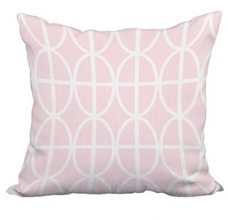 Simply Daisy 22 x 22 Inch Ovals and Stripes Pink Geometric Print Decorative Polyester Throw Pillow with Linen Texture