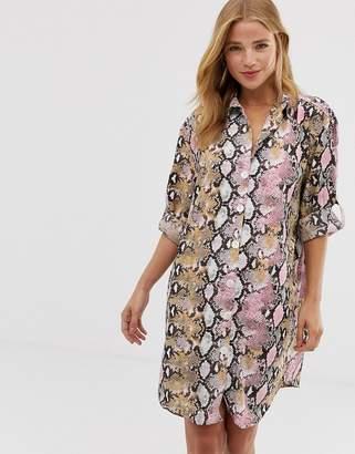 Qed London QED London shirt dress in pink snake print