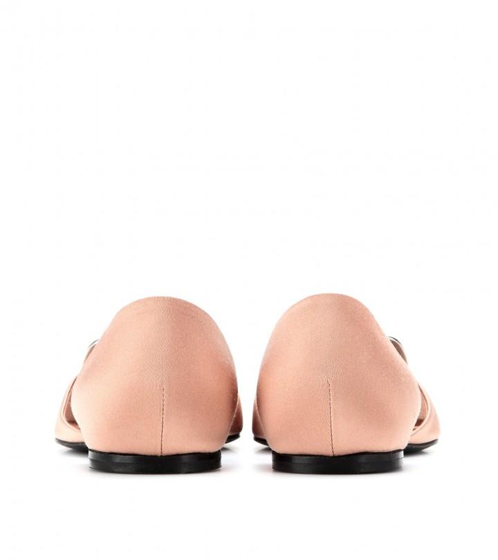 Roger Vivier Crystal-embellished satin ballerinas