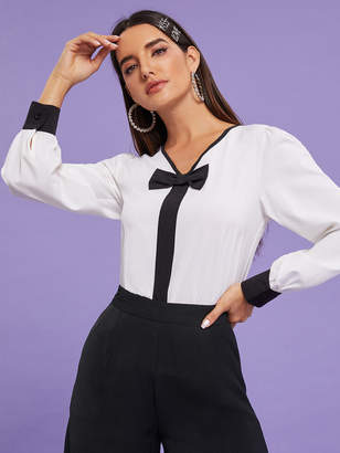 Shein V-neck Bow Front Contrast Cuff Blouse