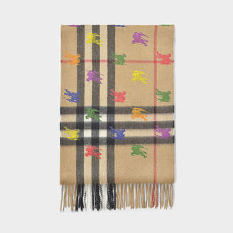 Burberry Ekd Giant Check Scarf In Camel Cahsmere