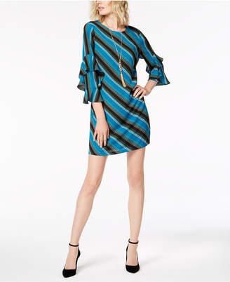 INC International Concepts I.n.c. Tiered-Sleeve Striped Sheath Dress