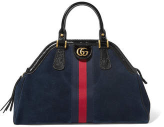 Gucci Re Belle Small Patent Leather Trimmed Suede Tote Navy