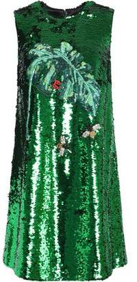 Dolce & Gabbana Embellished Sequined Mesh Mini Dress