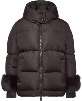 Moncler Down Jacket with Fox Fur Trims