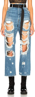 Unravel Rigid Denim Destroyed Baggy Boyfriend Jeans