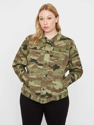 Junarose Camo Denim Jacket in Ivy Green Size Large