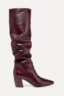 Prada 65 Leather Knee Boots - Burgundy