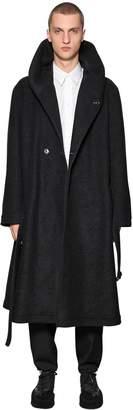 Yohji Yamamoto Hooded Wool Blend Coat W/ Belt