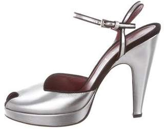 Prada Metallic Ankle-Strap Pumps