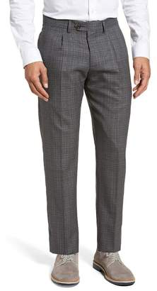 Eleventy Mini Check One Pleat Wool Trim Fitted Trousers