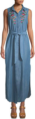 Neiman Marcus Sleeveless Embroidered Chambray Maxi Shirtdress