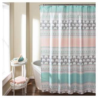 Lush Decor Elephant Stripe Shower Curtain Turquoise