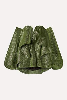 Halpern Off-the-shoulder Ruffled Lurex Bustier Top - Green
