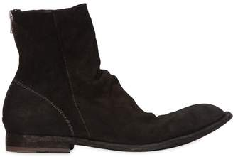Officine Creative Washed Deerskin Leather Cropped Boots