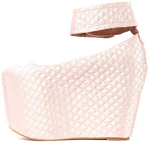 Jeffrey Campbell The Pointe Platform in Quilted Pink Satin