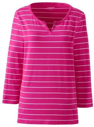 Lands' End Pink Lightweight Striped Henley Top