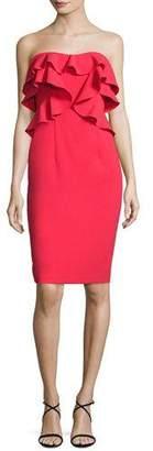 Black Halo Strapless Ruffle-Trim Ponte Cocktail Dress, Chic Red $345 thestylecure.com