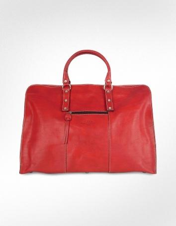 Robe di Firenze Red Italian Leather Travel Tote