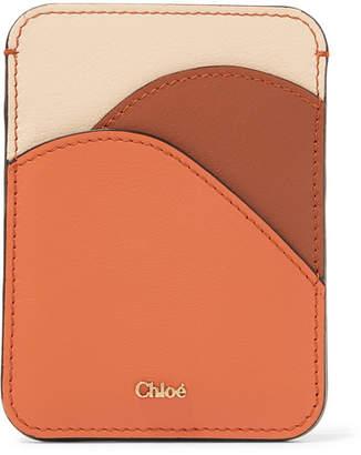 Chloé Color-block Leather Cardholder - Brown