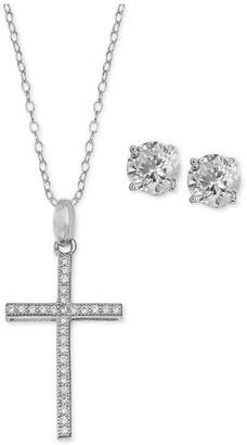 Giani Bernini Cubic Zirconia Cross Pendant Necklace and Stud Earrings Set in Sterling Silver