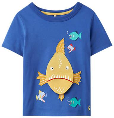 Little Joule Boys' Chomp Piranha T-Shirt, Blue