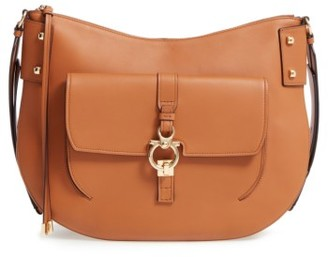 Salvatore Ferragamo Calfskin Leather Hobo - Brown $1,790 thestylecure.com