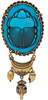 Gucci Scarab Cameo Brooch - Womens - Blue