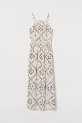 H&M Patterned Long Dress - White