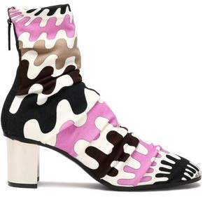 Emilio Pucci Ruched Printed Knitted Ankle Boots