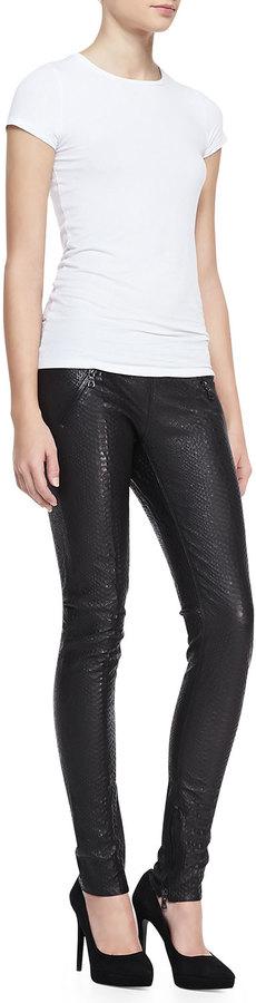 RtA Denim Snake-Print Leather Pull-On Skinny Pants