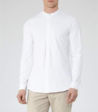 Reiss HARVEY PIQUE GRANDAD COLLAR SHIRT White