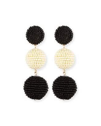 Kenneth Jay Lane Two-Tone Seed Bead Sparkle Earrings
