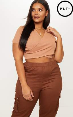 PrettyLittleThing Plus Camel Ribbed Wrap Front Crop Top