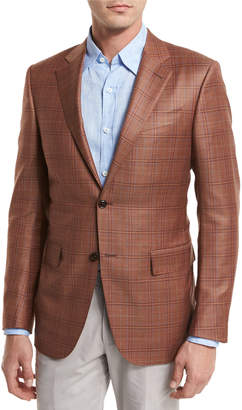 Ermenegildo Zegna Plaid Wool Two-Button Sport Coat, Rust