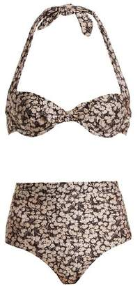 Zimmermann Prima 50's Cherry Floral Print Tie Detail Bikini - Womens - Purple Multi