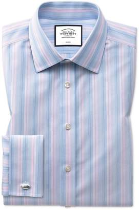 Charles Tyrwhitt Classic Fit Non-Iron Pink and Blue Multi Stripe Cotton Dress Shirt Single Cuff Size 15.5/35