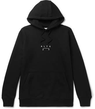 ALYX Logo-Print Fleece-Back Cotton-Blend Jersey Hoodie