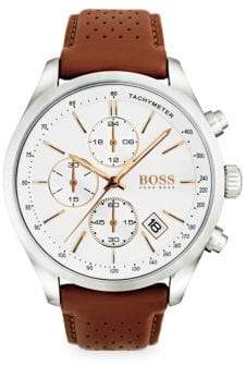 HUGO BOSS Grand Prix Stainless Steel and White Dial Chronograph Leather Strap Watch